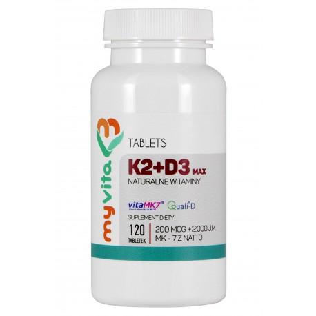 Witamina K2 + D3 MAX MyVita - sklep internetowy - 120 tabletek
