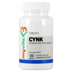 Cynk (chelat aminokwasowy) Myvita  - sklep internetowy - 100 tabletek